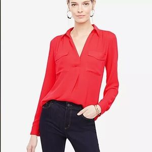 ANN TAYLOR Camp Shirt Popover Poly Crepe Red